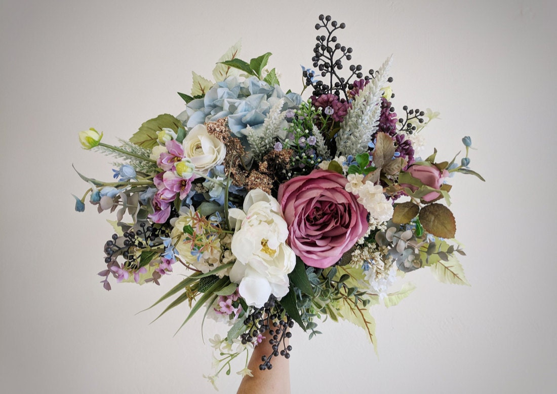 An example of an elegant pink and blue silk bouquet from The Faux Bouquets