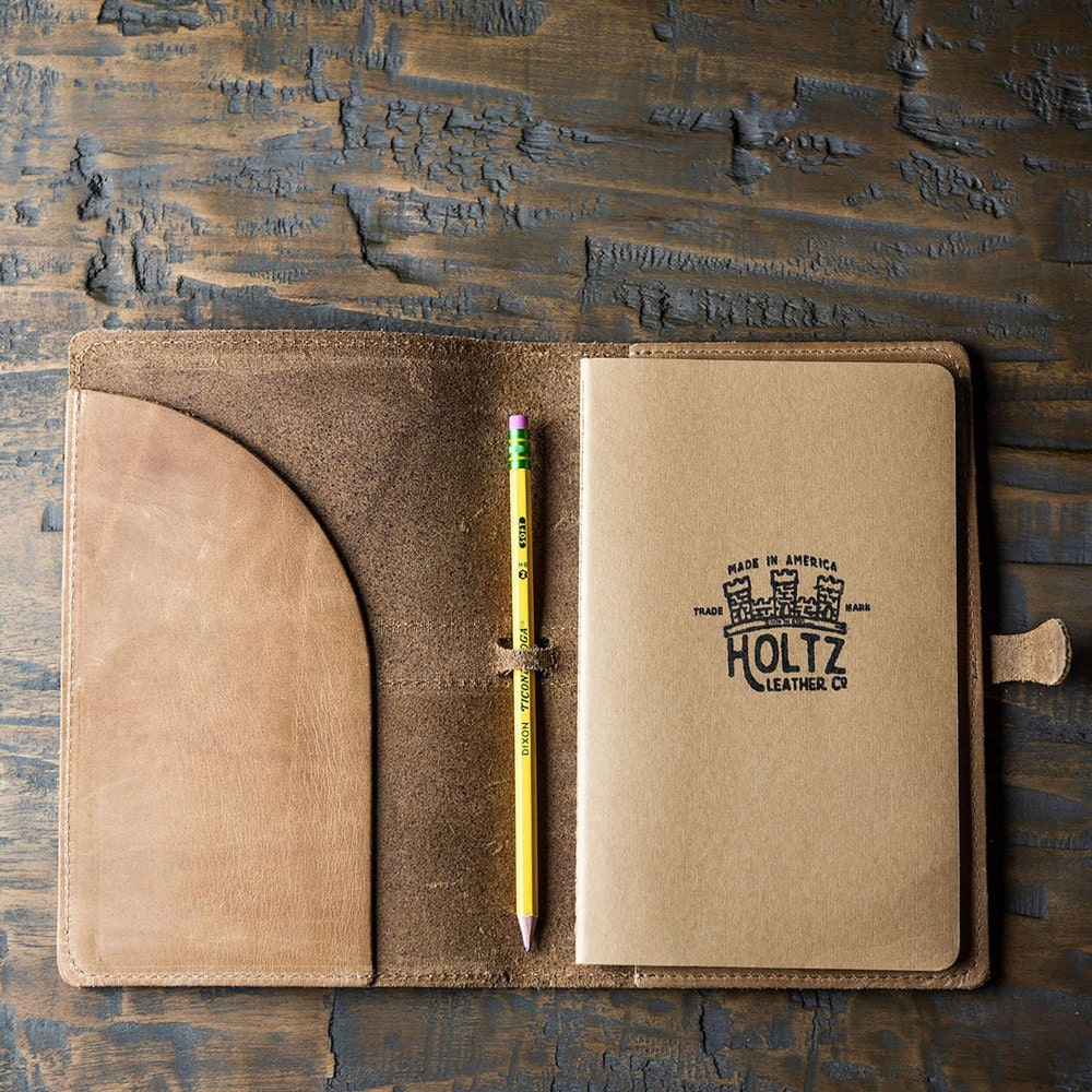 A personalized leather journal from Holtz Leather Co.