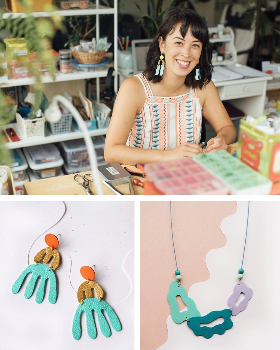 Portrait of jewelry designer Jamie Carlson collaged with a few of her colorful statement pieces created from reclaimed leather.