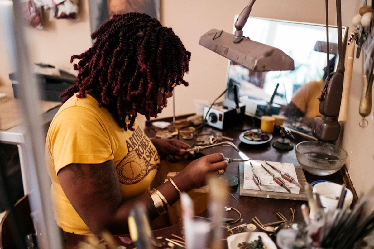 Alicia at work in her studio