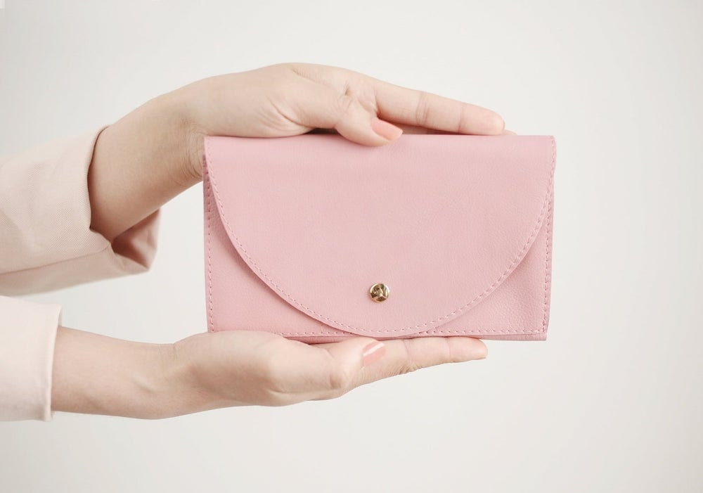 A blush leather wallet from Alex Bender