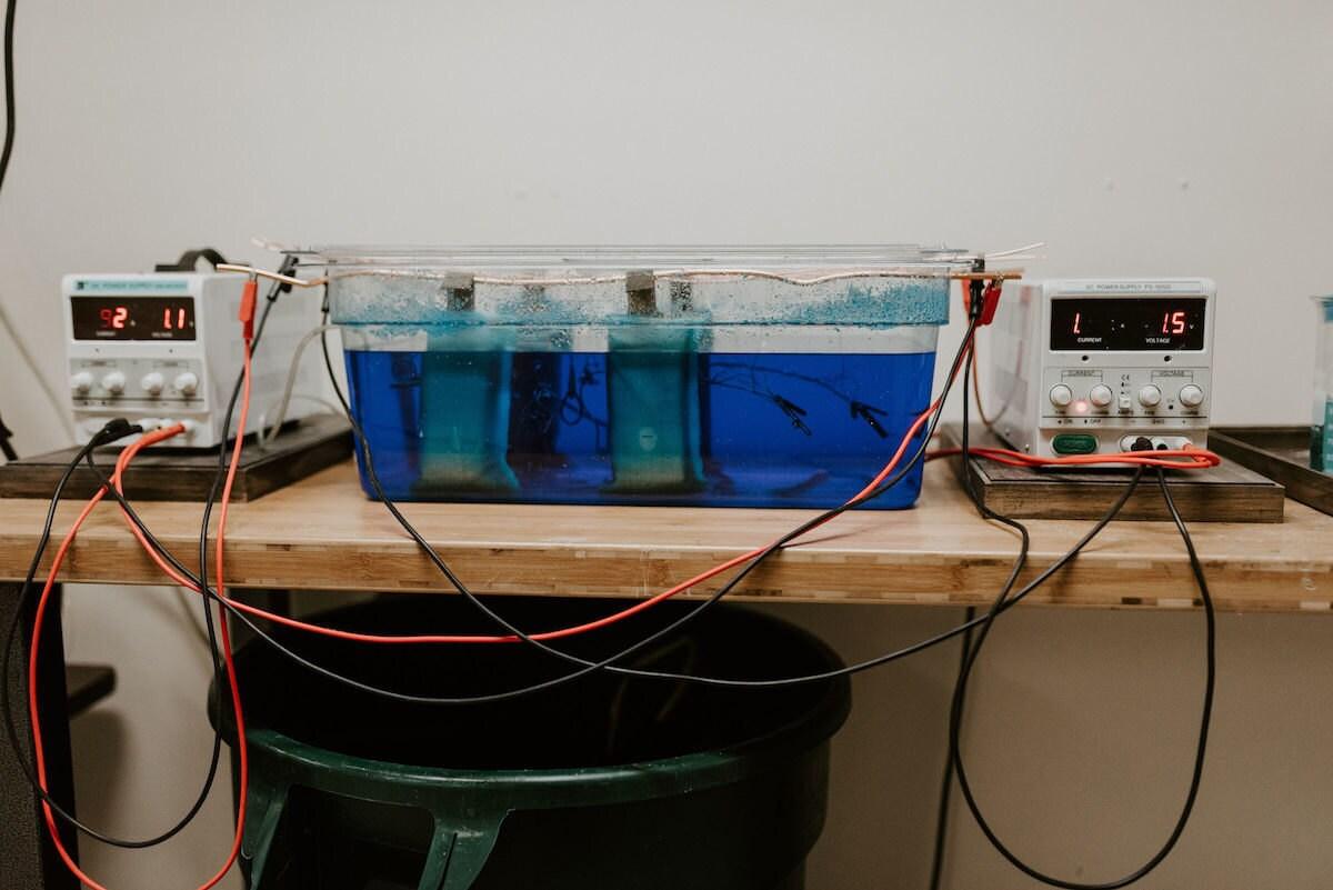 Alicia's electroforming station in her studio