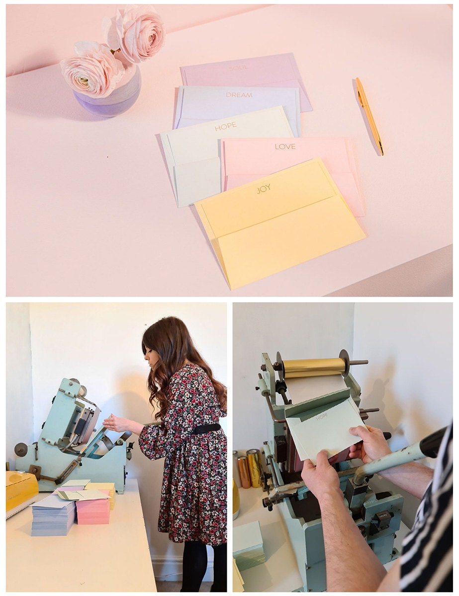 A collage of three images. From top: pastel notecards; a work-in-progress shot of how they're made; the maker.
