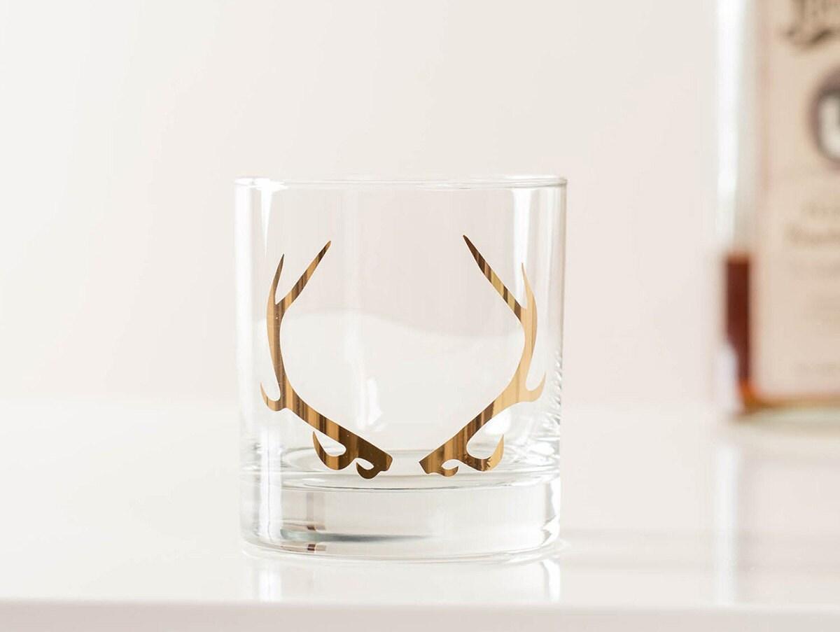 Antler rocks glass groomsman gift from Vital, on Etsy