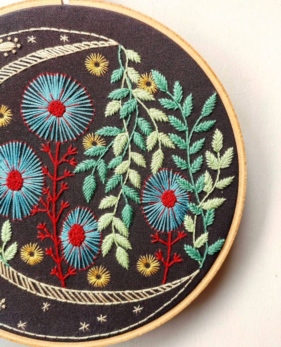 Night garden embroidery from Etsy seller Cozy Blue