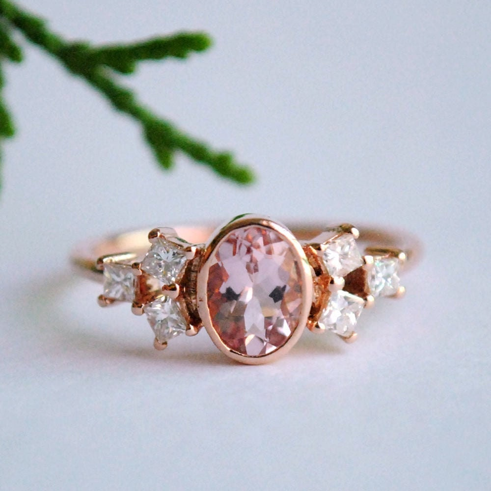 Rose gold morganite engagement ring from Abhika Jewels