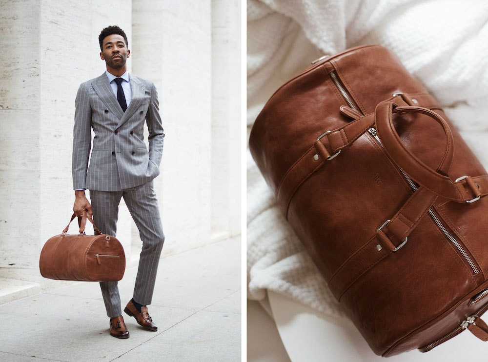 Leather weekender bag from The Leather Expert
