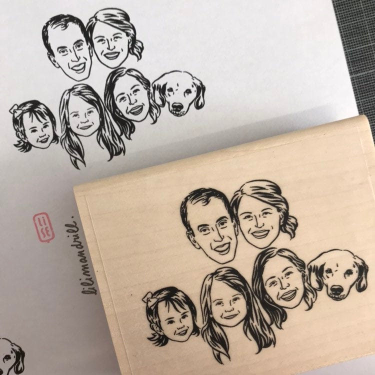 A custom family portrait stamp from Lilimandrill