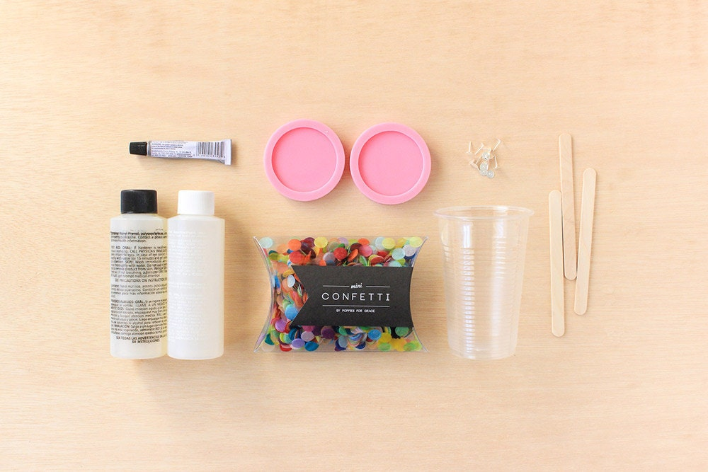 Supplies needed for DIY confetti earrings project on Etsy