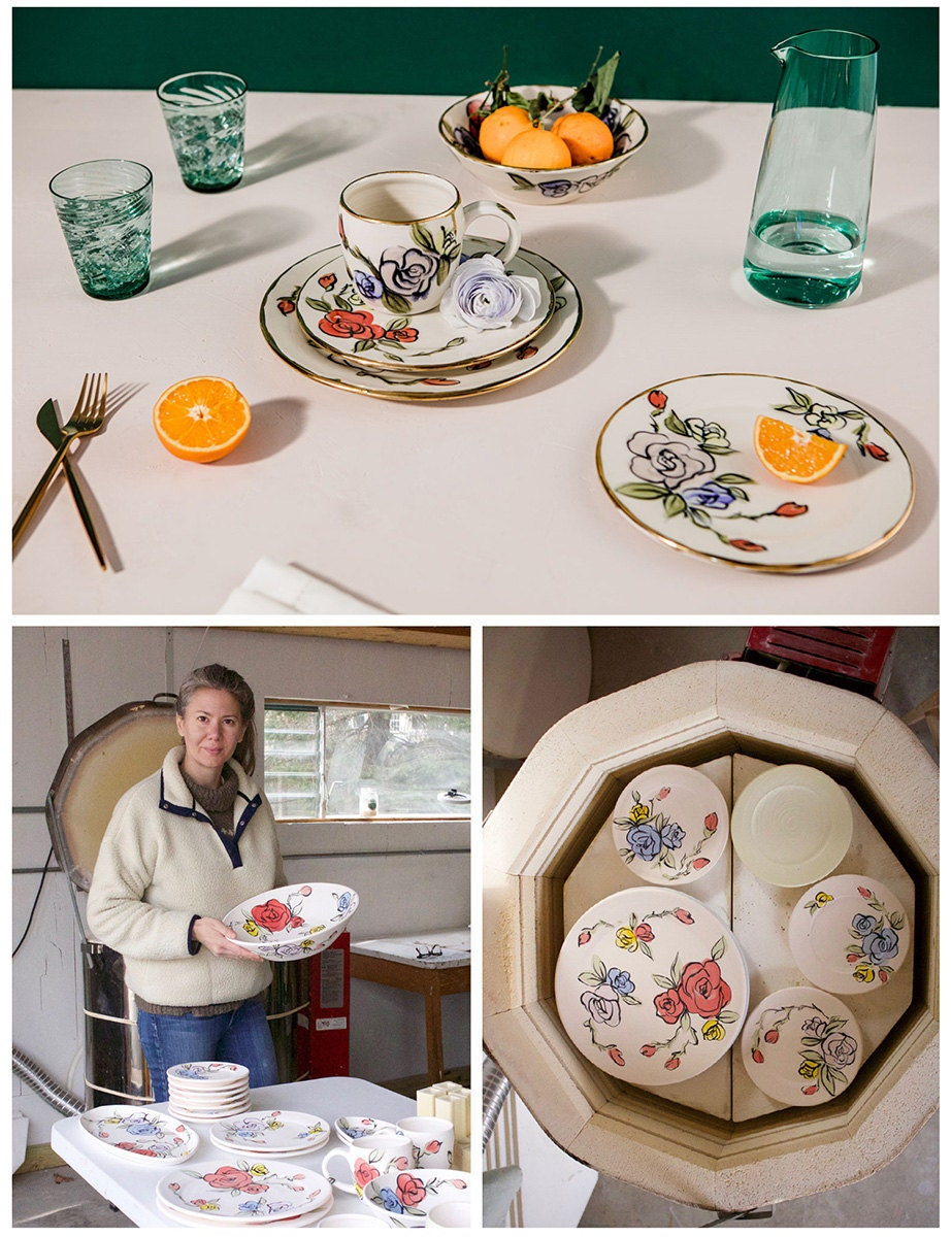 A collage of three images. Clockwise from top: Gilded dishes with a rose print; the dishes being made; the maker in their studio.