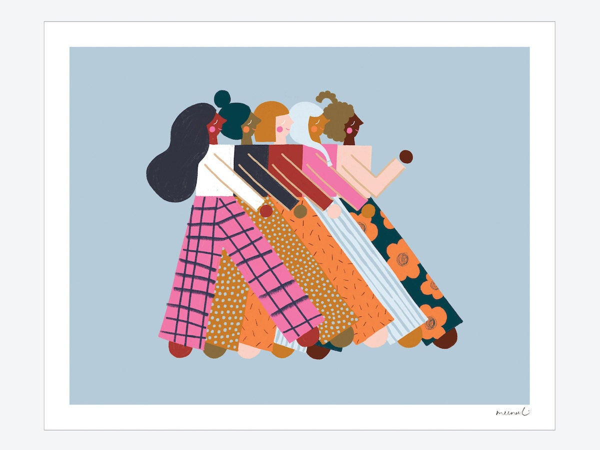 A colorful print of women marching from Meenal Patel Studio