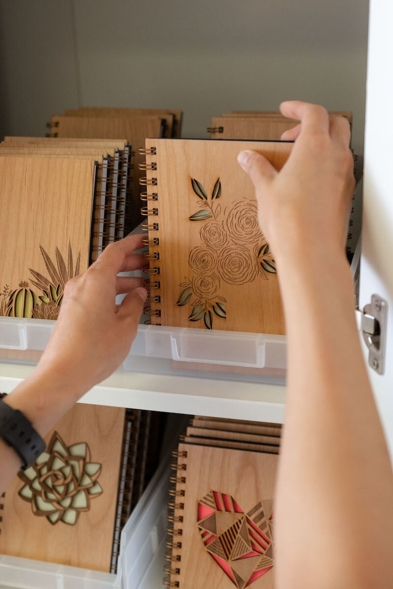 Assorted wooden journals from Hereafter