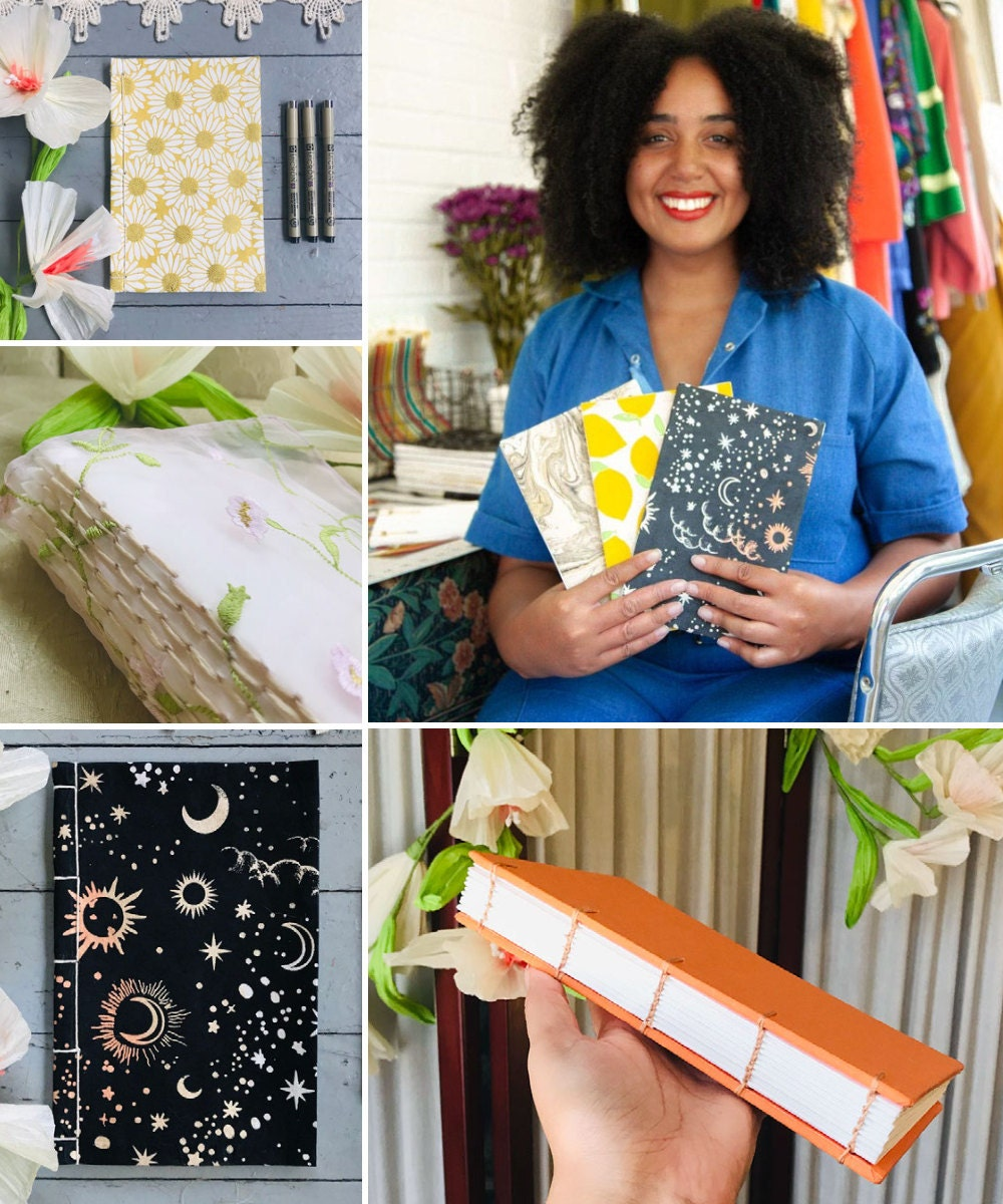A collage of hand-bound journals from Sorrel + The Sea pictured alongside a portrait of shop owner Killian Knight