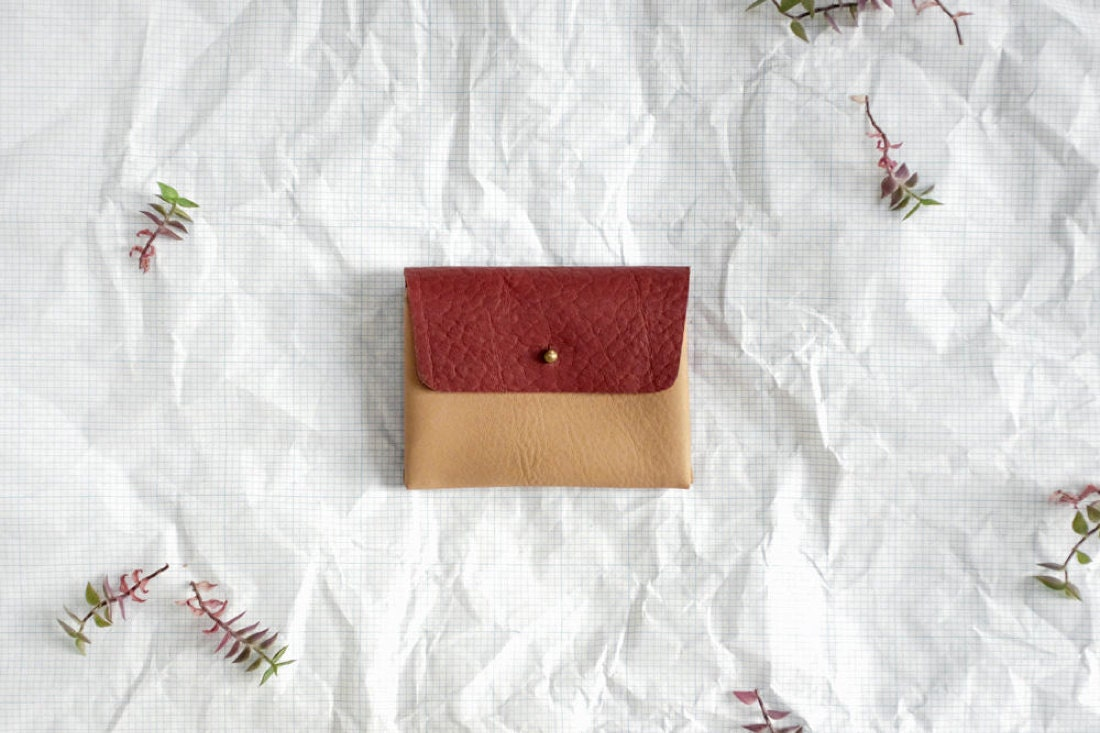 Two-tone leather mini wallet from Small Queue