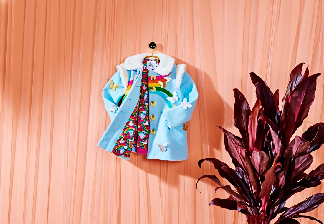 A rainbow and butterfly coat from Little Goodall, winner of the Signature Style category.