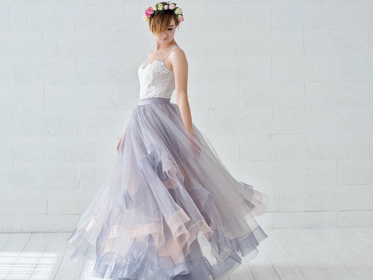 A model wears a Wardrobe by Dulcinea bridal separate set