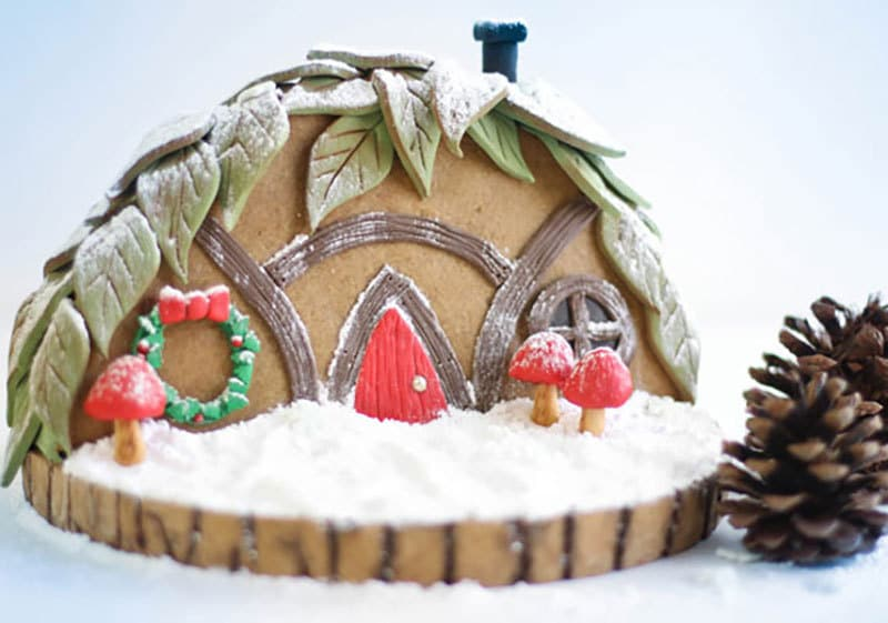 A completed gingerbread gnome home