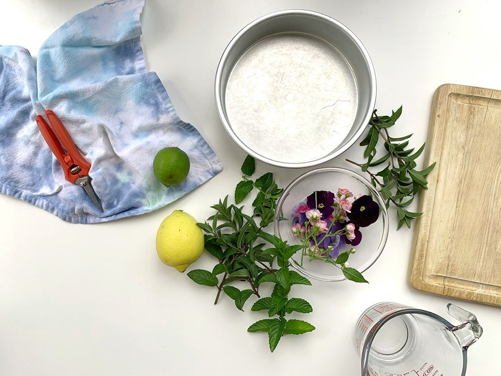 Flat lay of ingredients and materials needed to prepare the recipe.
