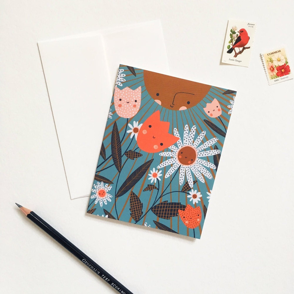 Illustrated floral card from Meenal Patel Studio