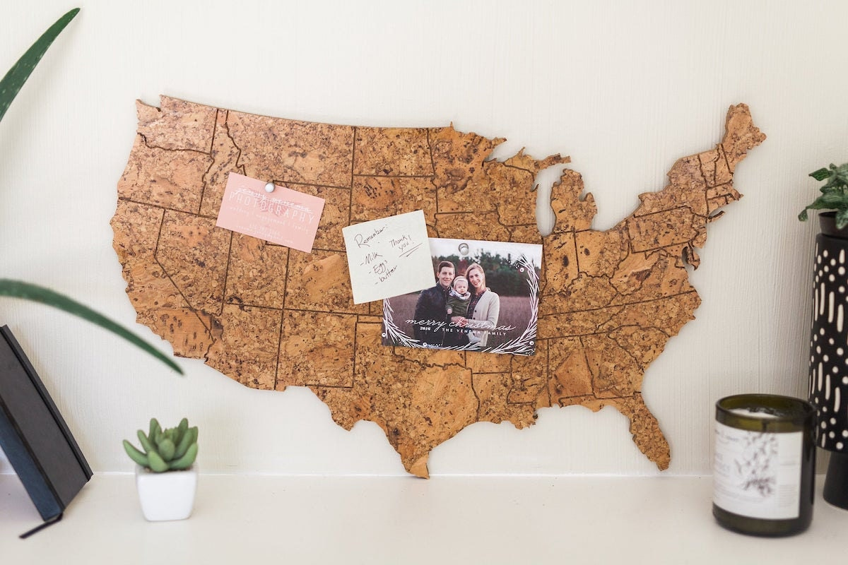 United States shaped corkboard from Geo 101 Design