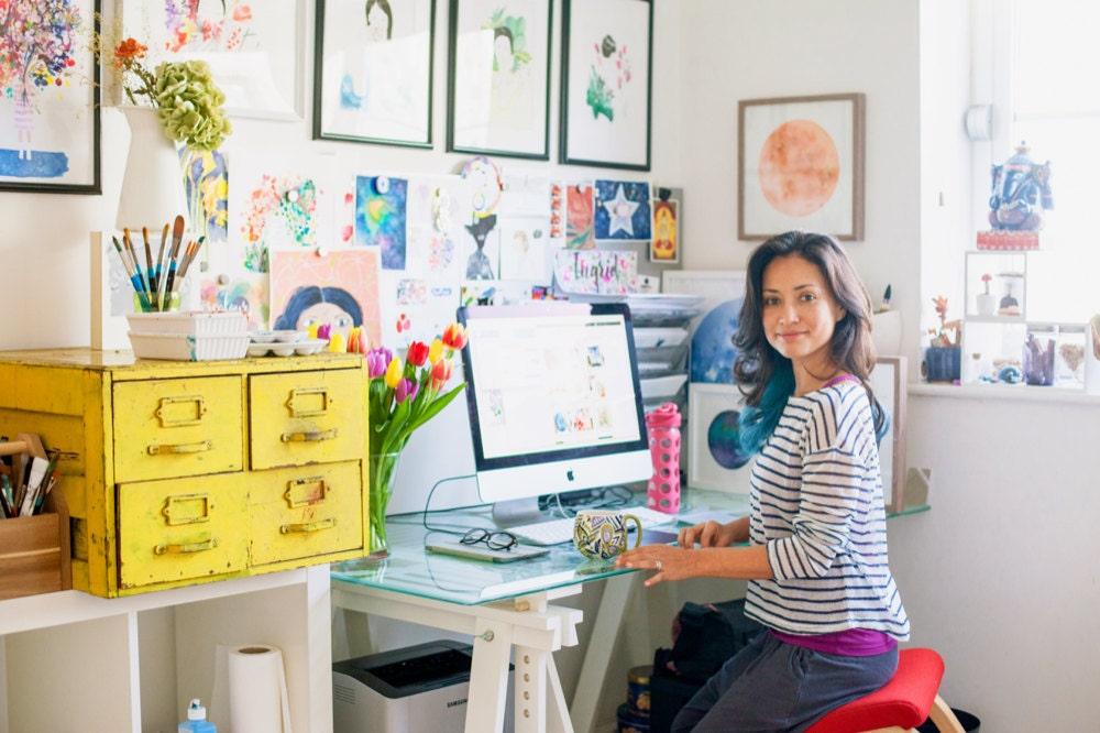 ingrid Sanchez in her home studio