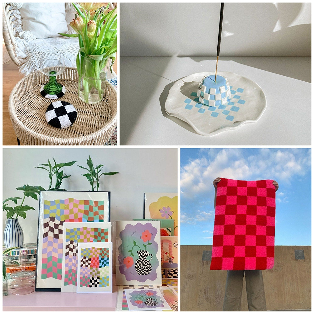A collage of checkered-print home goods