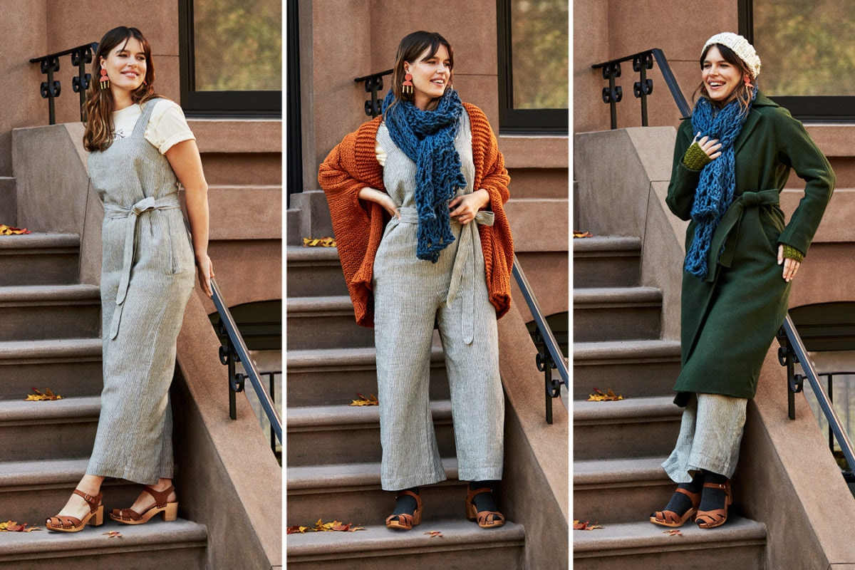Three-image collage of a woman wearing an increasingly layered fall look