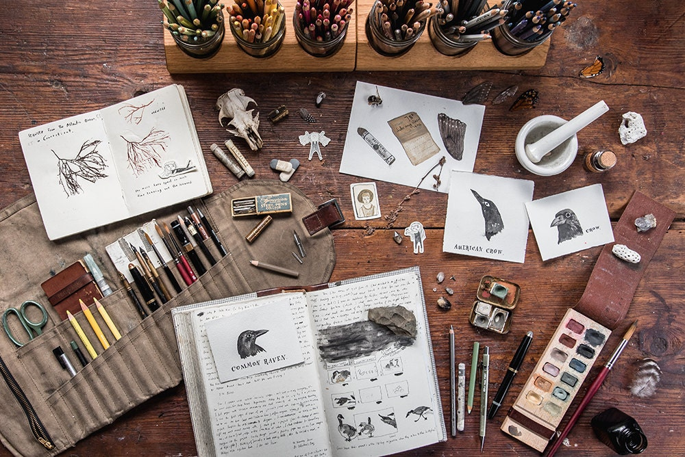 Materials and sketches in the Peg and Awl workshop