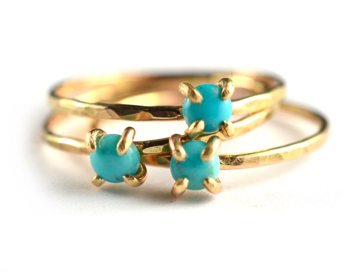 Stacking turquoise rings from Aquarian Thoughts