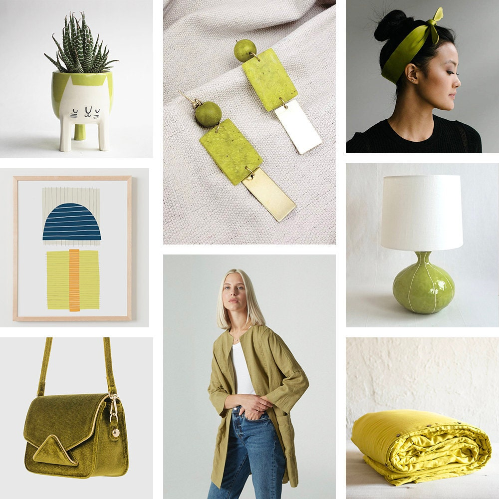 A collage of chartreuse items available on Etsy