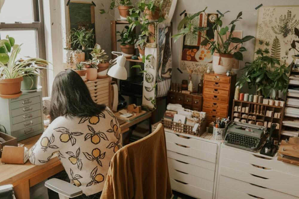 Justine at work in her New York studio