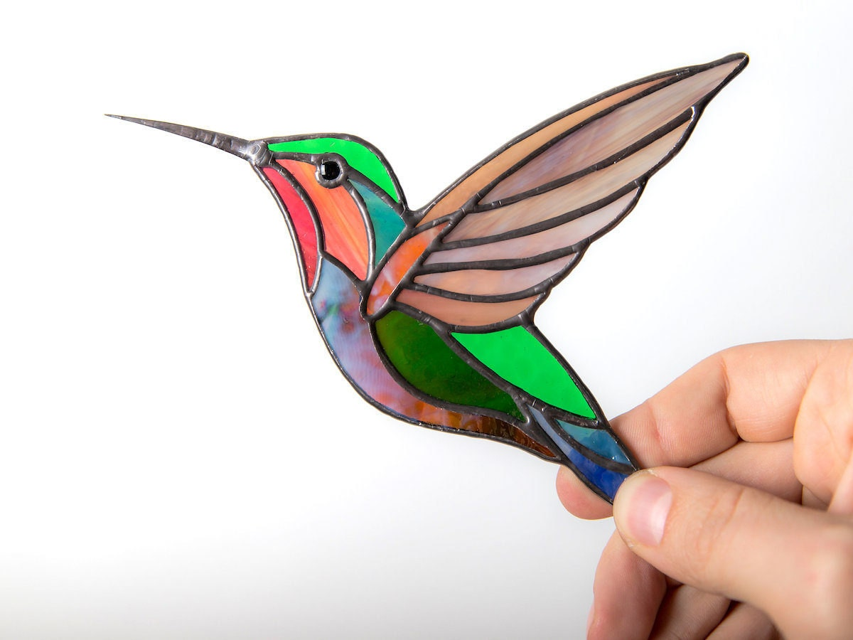 Colorful stained-glass hummingbird from GlassArtStories
