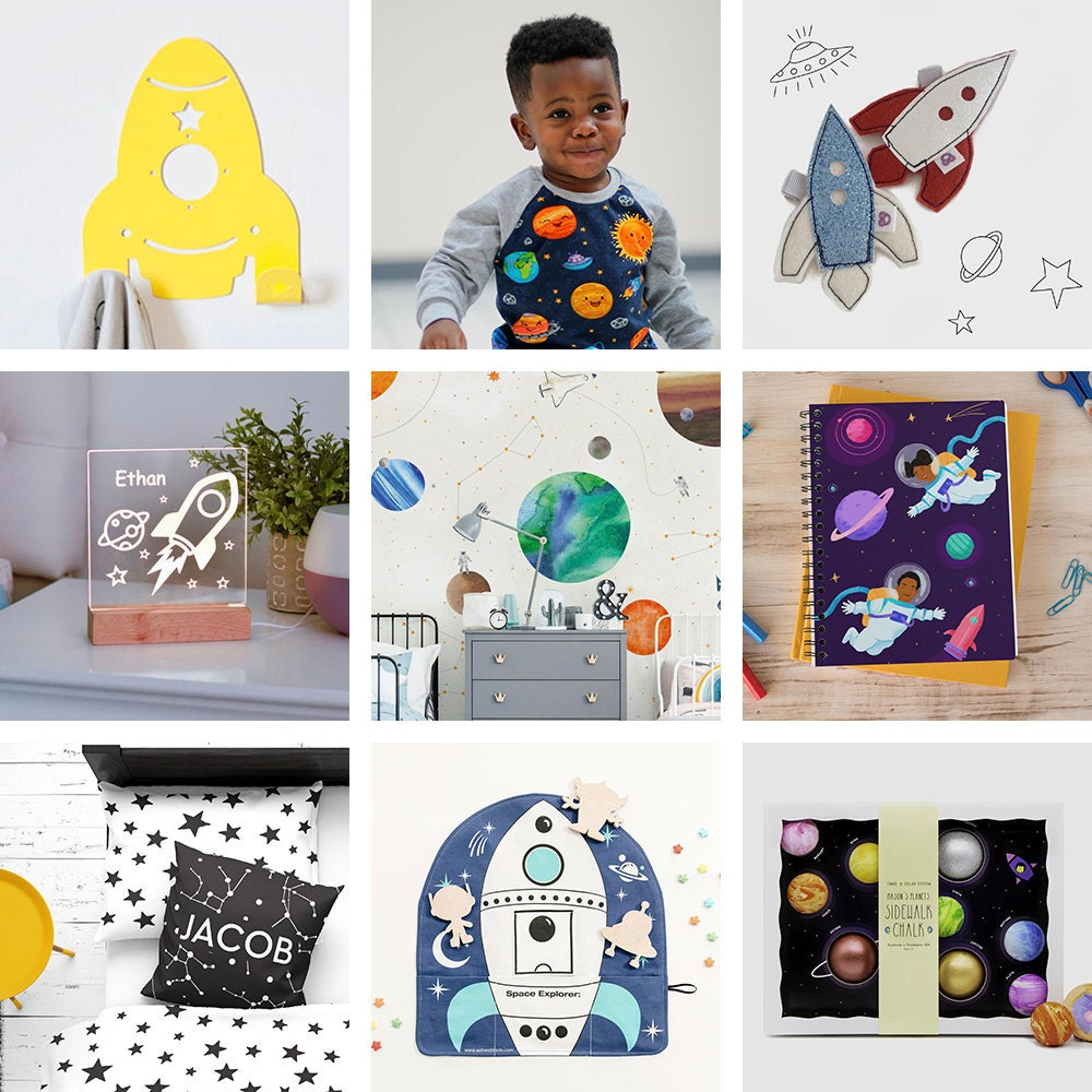 A collage of outer space themed items for kids available on Etsy