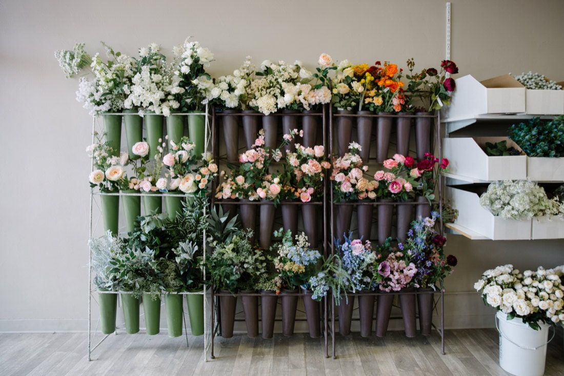 Walls of florals are organized by color in Brittany's Redland, CA storefront