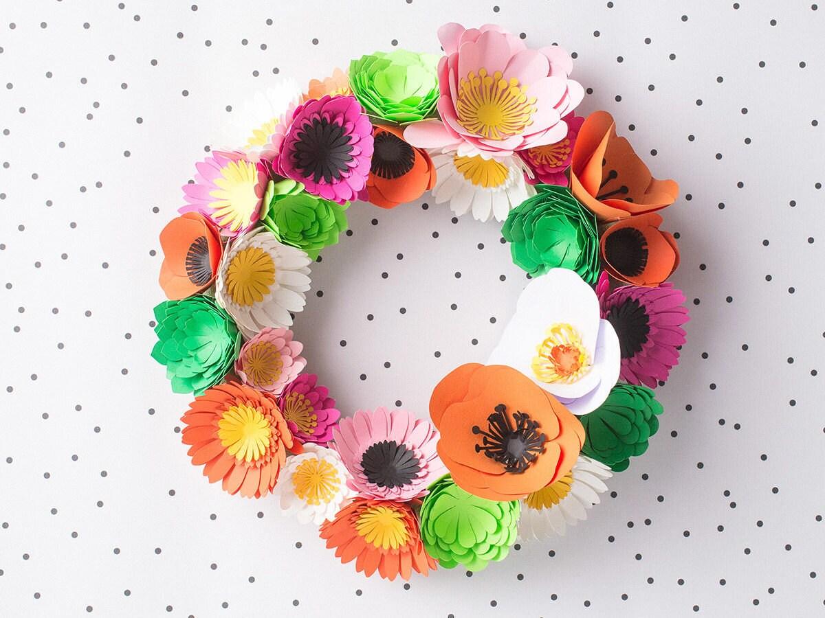 Finished DIY paper flower wreath