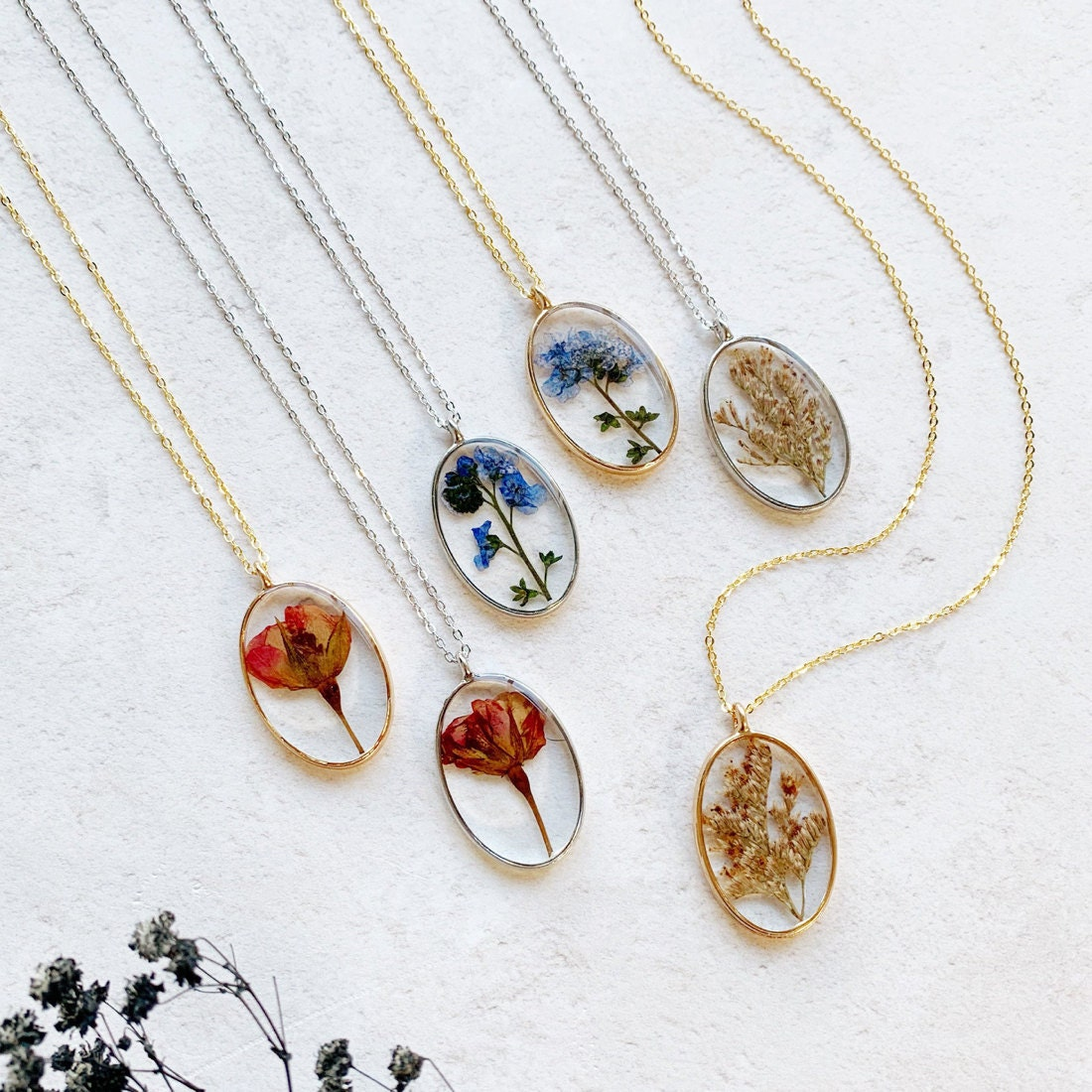 A collection of pressed-flower necklaces from Electric Eccentricity
