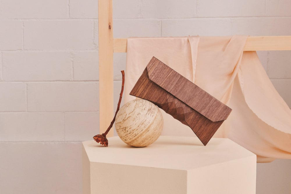 The Etsy Design Awards Bags, Shoes, & Accessories Winner: a geometric wooden clutch from Tesler + Mendelovitch