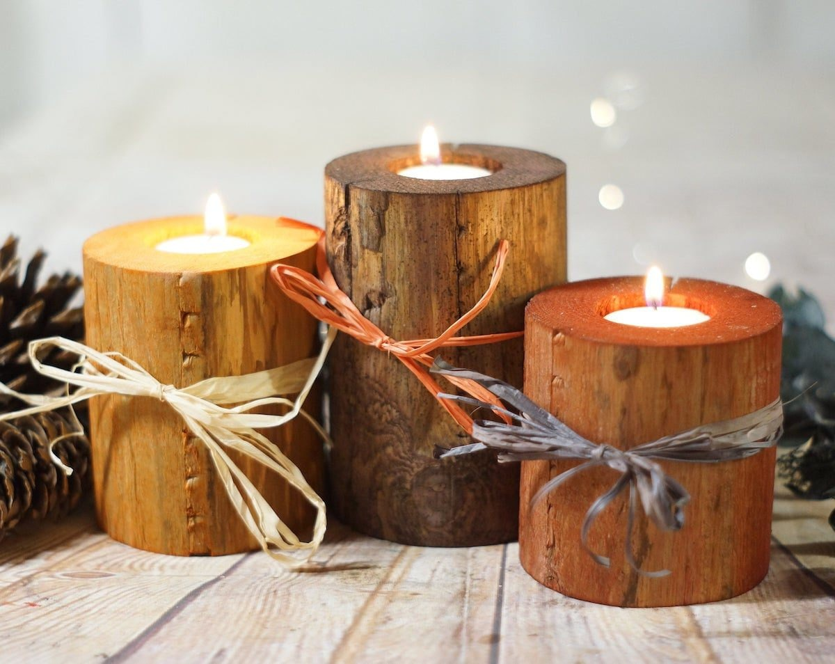 Trio of log candles from GFT Woodcraft