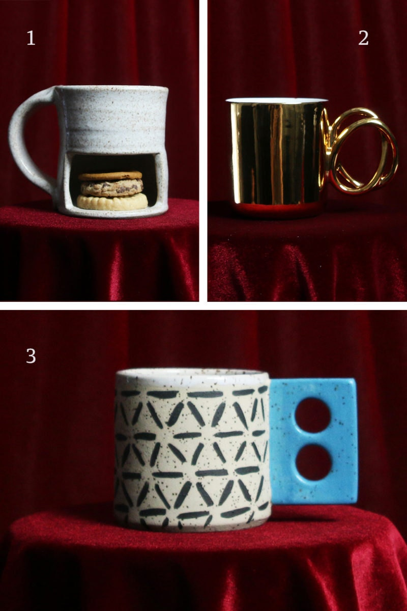 A collage of mugs for fire signs, including a mug with a cookie compartment for Sagittarius, a gold mug for Leo, and a creatively patterned mug for Aries.