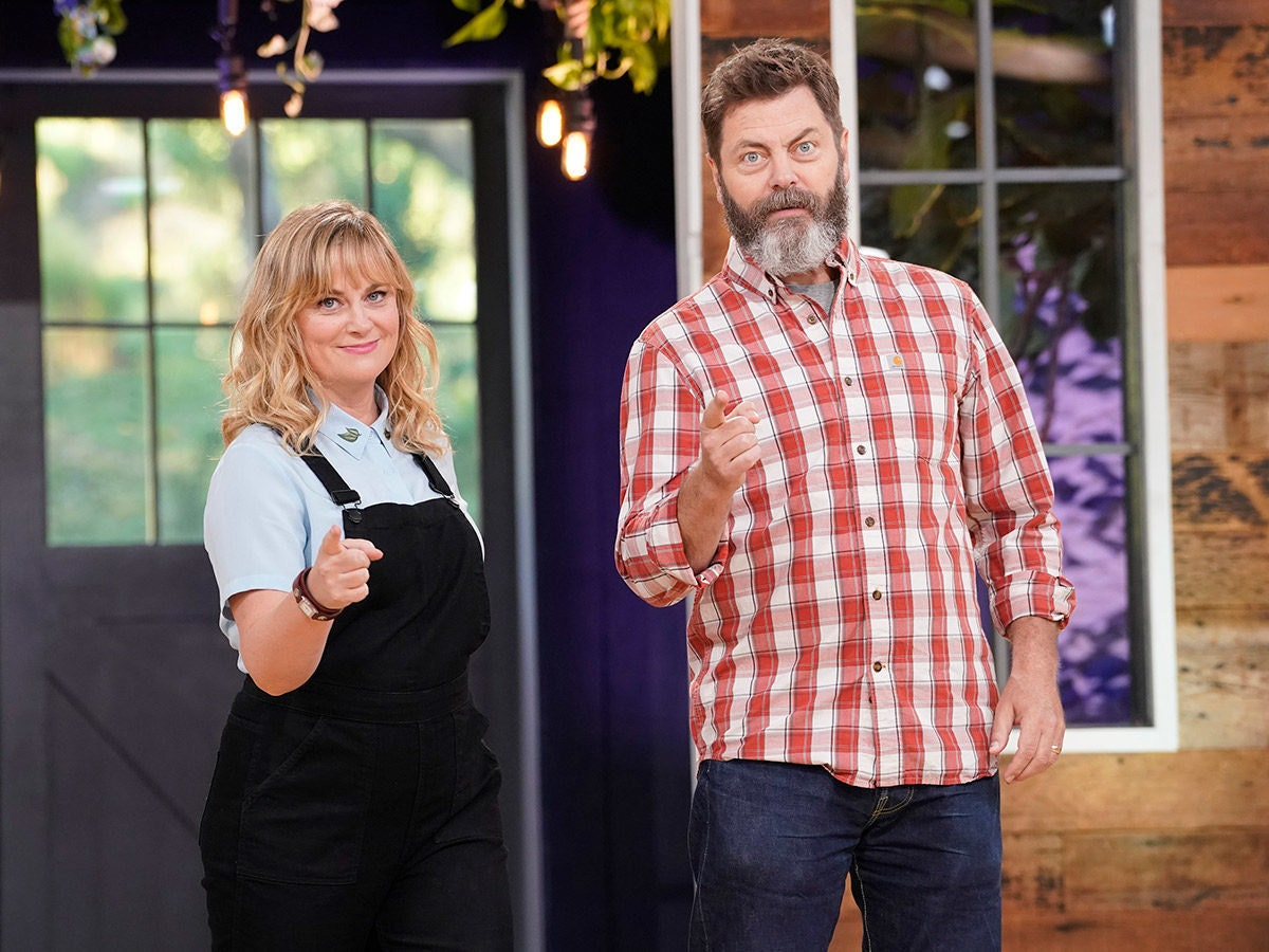 Amy Poehler and Nick Offerman, hosts of NBC's