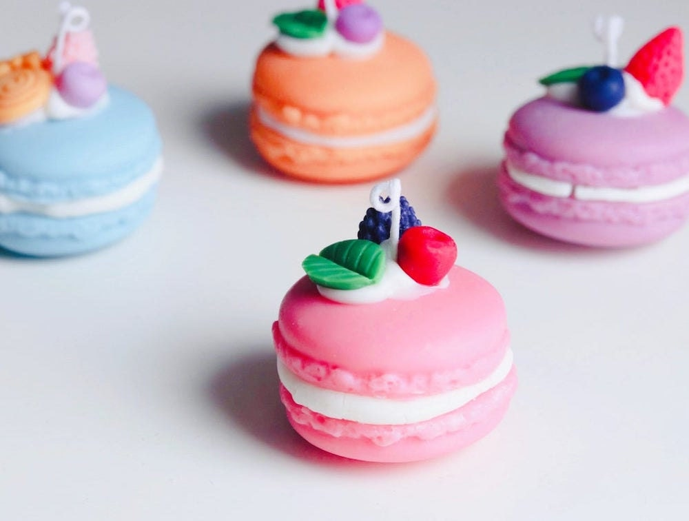 Scented macaron-shaped candles from Brighter Sky Boutique