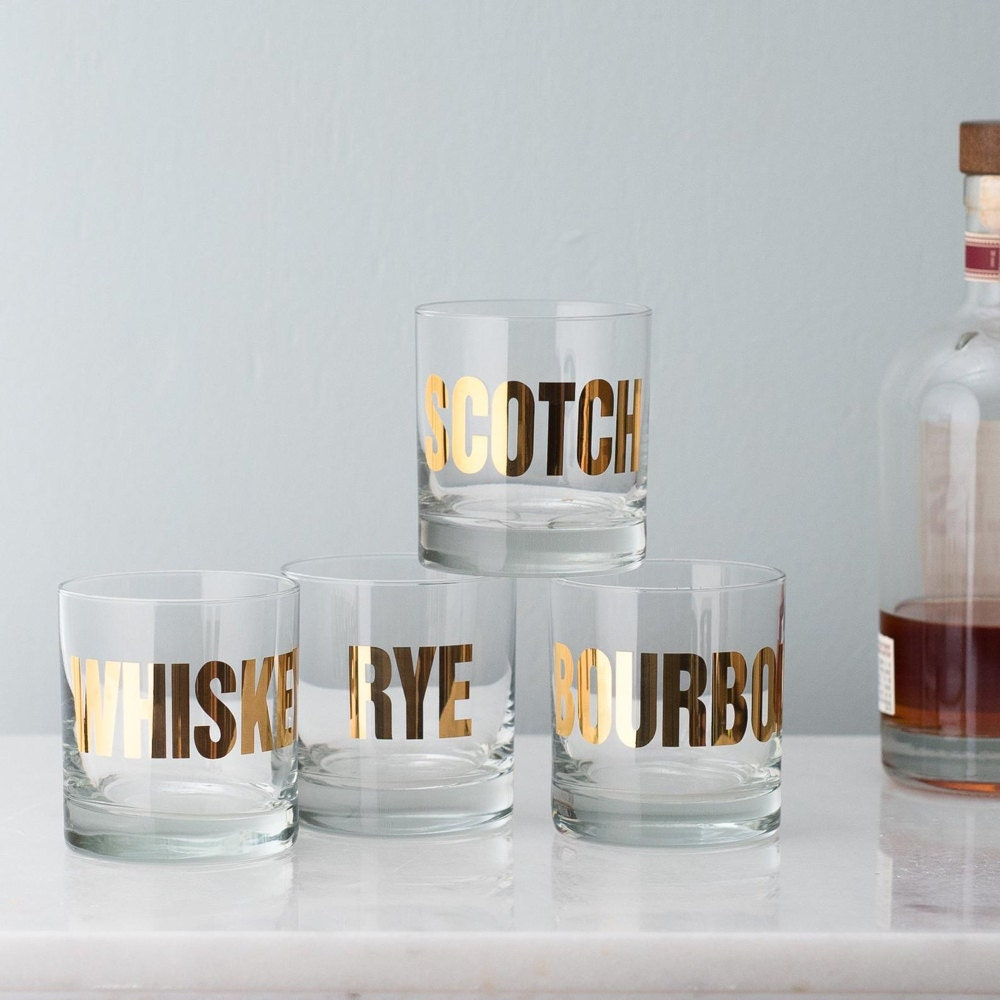 A set of gold mixology glasses from Vital Industries