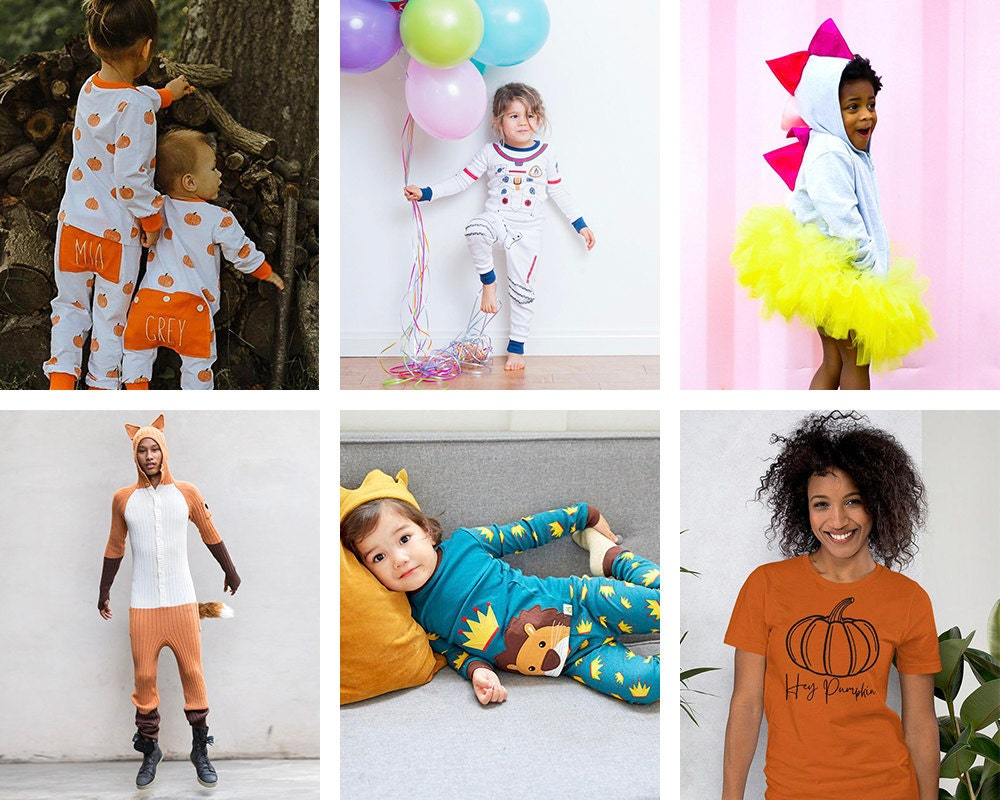 Collage of Halloween-themed loungewear from Etsy