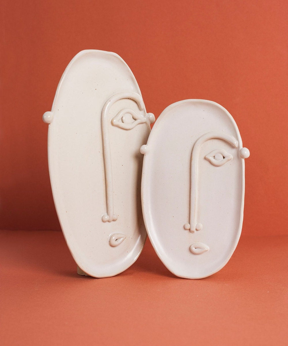Sculpted face trays in two sizes from Madriguera Workshop