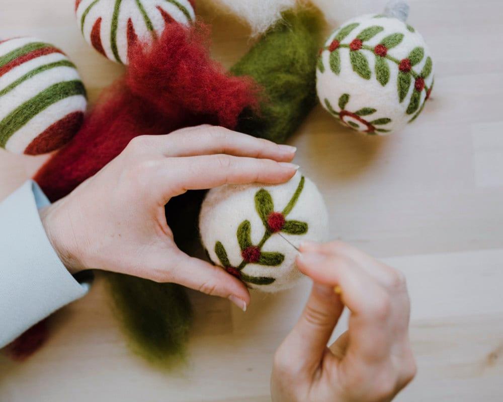 Needle felting ornament kit from Felted Sky