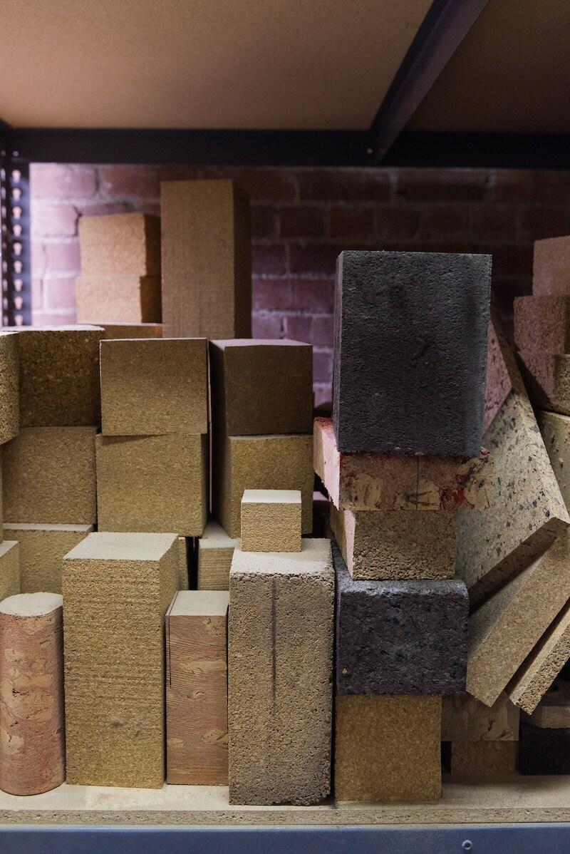 Cork blocks stacked in Melanie's studio
