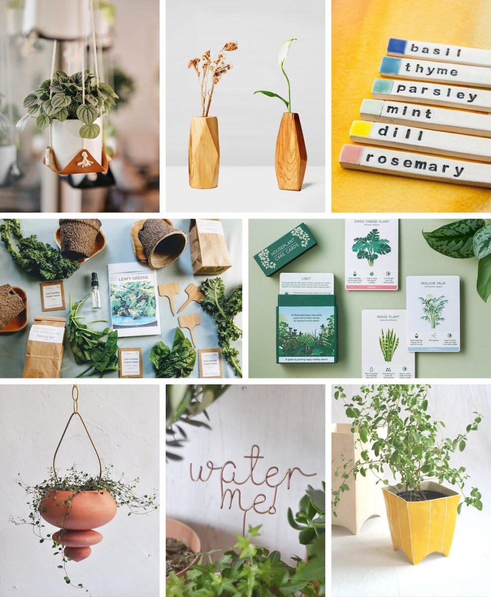 A collage of indoor garden ideas from Etsy