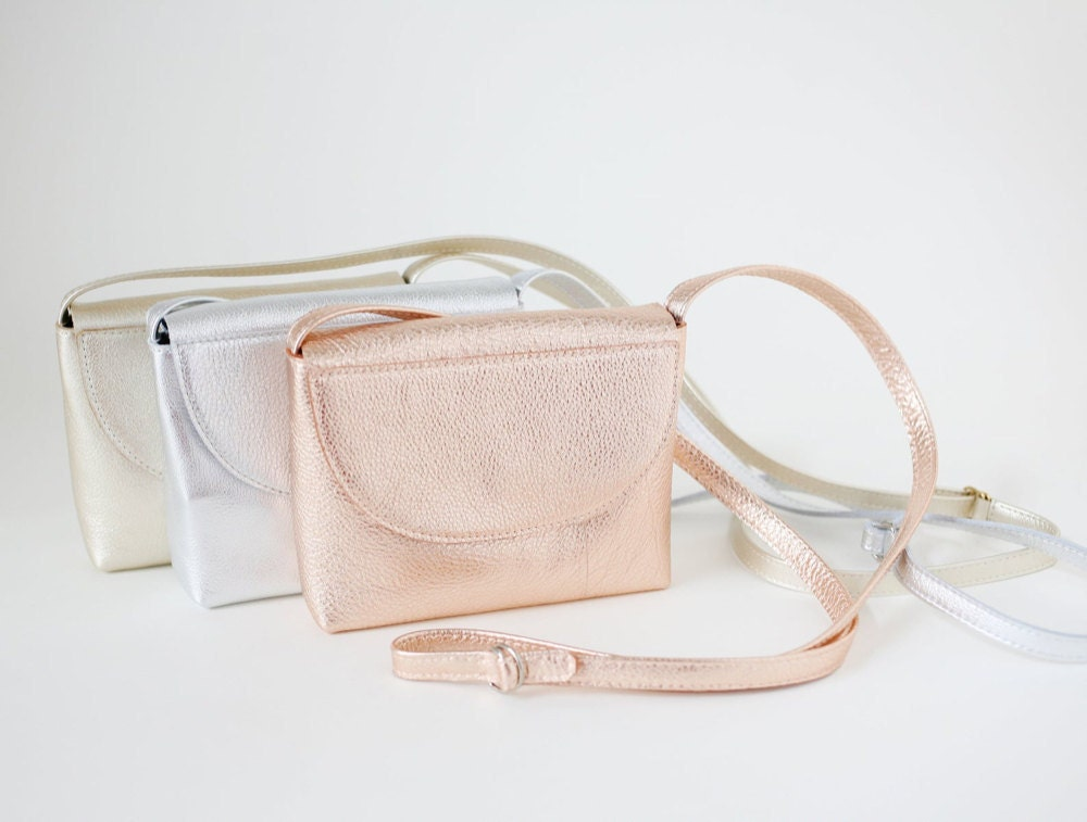 Small leather satchels from Alex Bender in a range of metallic hues