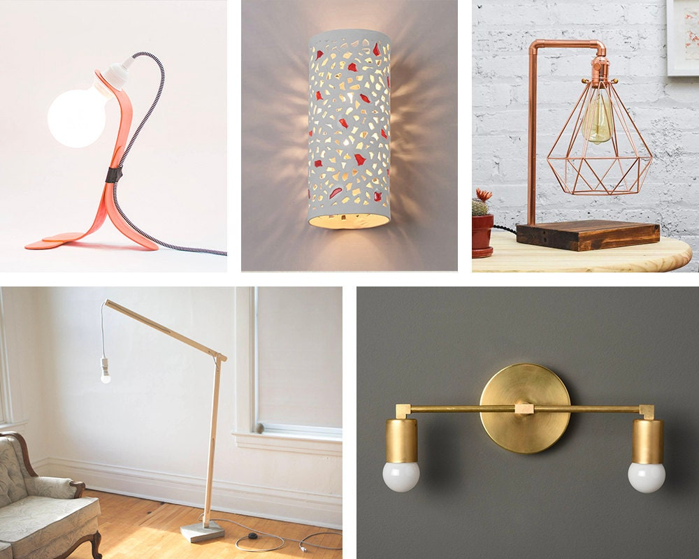 An assortment of lighting styles available on Etsy, including desk lamps, bedside table lamps, wall sconces, and floor lamps.