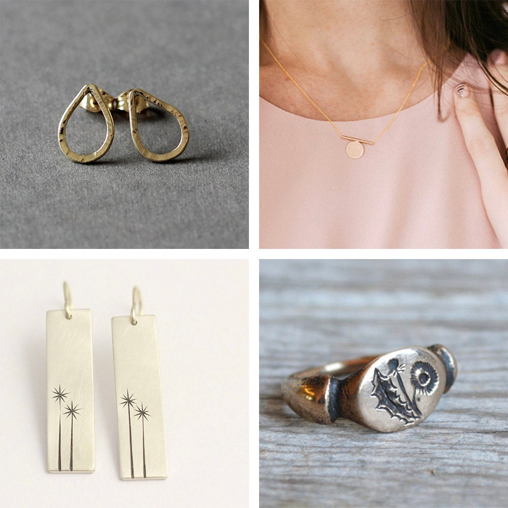 A collage of recycled metal jewelry from Etsy